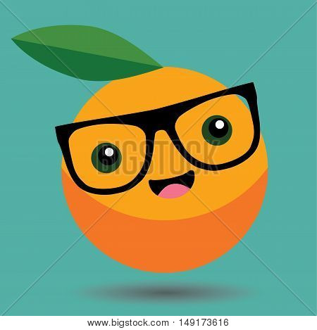 Orange Cartoon Kawaii Vector - Food Cartoon Kawaii Vector - Fruit Cartoon Kawaii Vector -  Orange Cartoon Smile With Glasses -