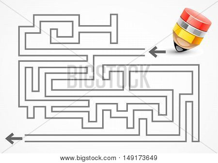 Stylized yellow pencil with labyrinth on white background