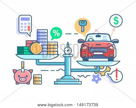 Car and money on scales. Financial evaluation of interest on loan for vehicle. Vector illustration