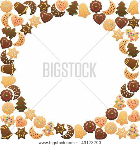 Christmas cookies frame circle. Isolated vector illustration on white background.