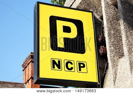 Cardiff, United Kingdom, September 14, 2016 : NCP  logo advertising sign outside one of it's car parks in Westgate Street