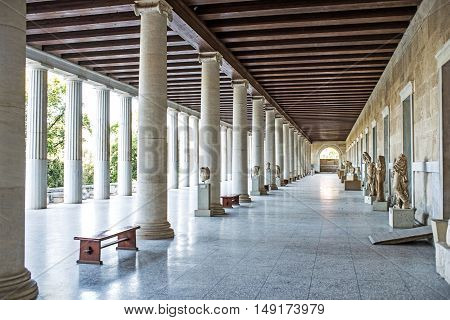 Stoa of Attalos in ancient Agora Athens Greece
