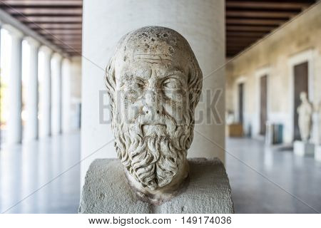statue probably of Herodotus in stoa of Attalos Athens Greece
