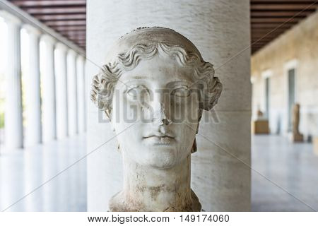 statue of the Nike in stoa of Attalos Athens Greece