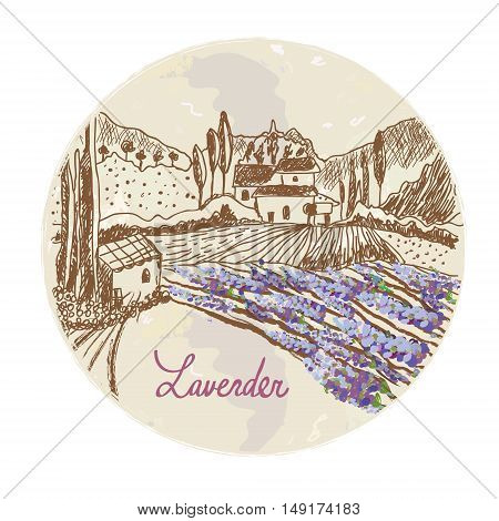Lavender label with sketchy landscape and flowers - vector graphic design