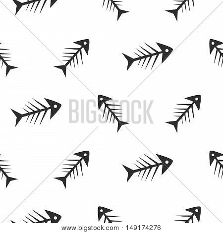 Fishbone monochrome seamless vector pattern. Black and white chaotic fish bone textile pattern design.