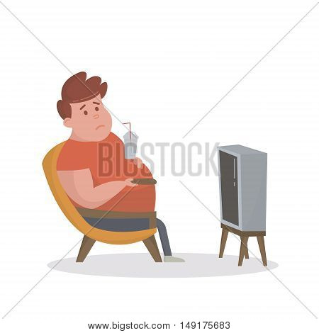 Fat man sitting on the couch and watching TV. Vector Illustration.