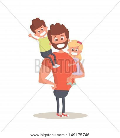 Superhero dad concept. Strong Dad holding his two children. Flat style vector icon. Vector Illustration