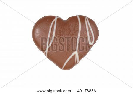 heart-shaped cookie with chocolate frosting isolated on white background