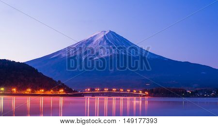 Beautiful mt Fuji in twilight at Kawaguchiko in Japan. mount fuji on sunset at Japan. fuji sun landscape in Japan. fuji on morning.