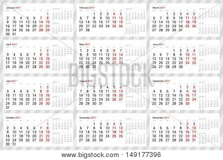 Year 2017 scalable vector desk or spiral calendar - all 12 months with next one and previous one on single page - with week starting on Monday. Strict office design in grey, black, and red on white