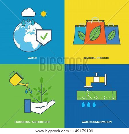 Concept of environmental protection, preservation of natural reserves of water and maintaining pure agriculture, water conservation. Flat vector illustration.