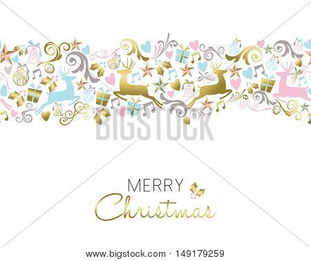 Christmas Decoration And Ornament Pattern In Gold