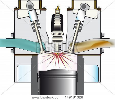 A four stroke petrol engine on its ignition stroke over a white background