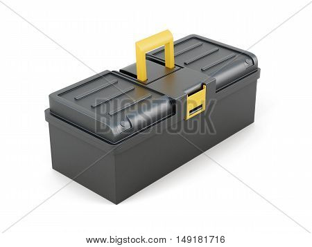Plastic Tool Box On White Background. 3D Rendering