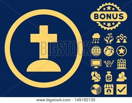 Grave icon with bonus images. Vector illustration style is flat iconic symbols yellow color blue background.
