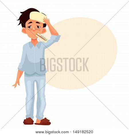 Little boy having a cold with thermometer in his mouth, cartoon style illustration isolated on white background. Blond haired boy pressing compress to his forehead, winter flu season