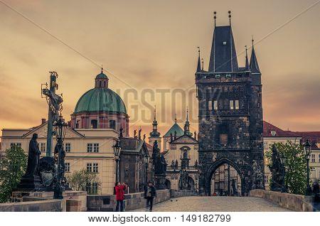 Prague, Czech Republic: Charles or Karluv Bridge in the beautiful sunrise