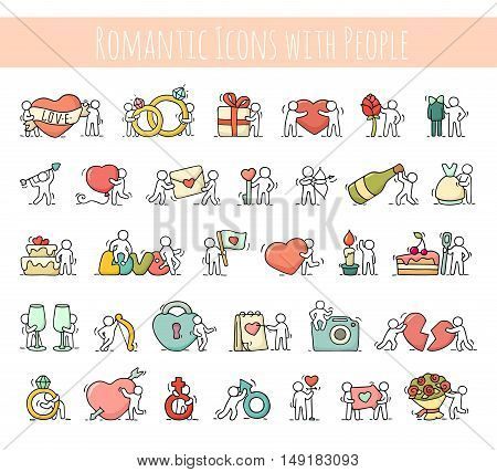 Cartoon romantic icons set of sketch working little people with love symbols. Doodle cute miniature scenes of workers with hearts arrows. Hand drawn vector illustration for valentine day and wedding celebration.