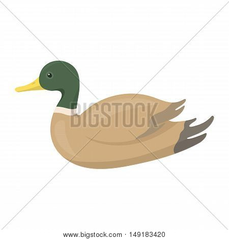 Duck icon in cartoon style isolated on white background. Hunting symbol vector illustration.
