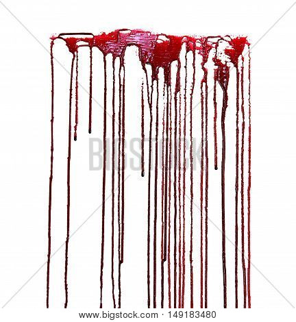 blood drop and bloodstains on isolated white background for horror content.