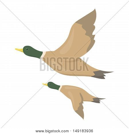 Ducks icon in cartoon style isolated on white background. Hunting symbol vector illustration.