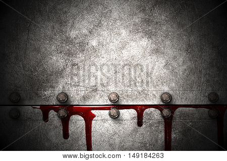 bloody metal wall in the dark for horror content and halloween festival. 3d illustration.