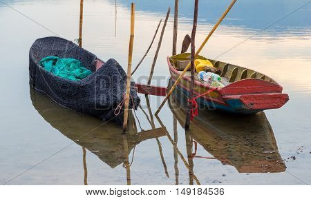 rowboat on the lake. lake in thailand