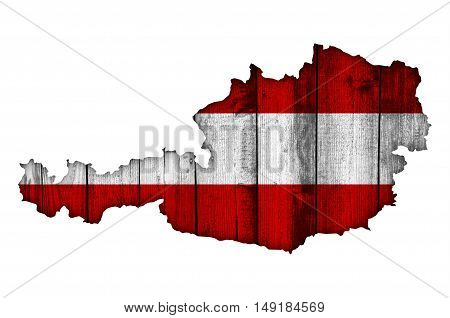 Map and flag of Austria on weathered wood