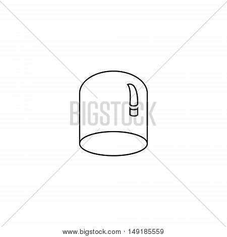 Glass dome for plants of outline style. Greenhouse cover plants icon illustration.