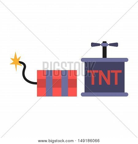 Dynamite icon in cartoon style isolated on white background. Mine symbol vector illustration.