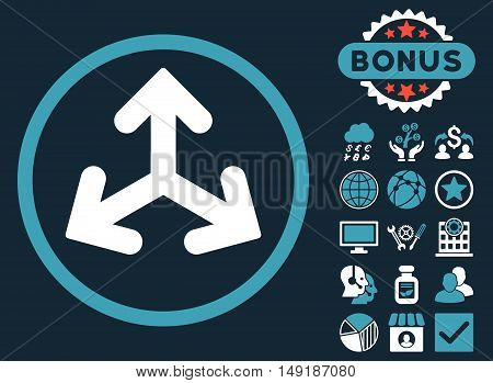 Direction Variants icon with bonus design elements. Vector illustration style is flat iconic bicolor symbols blue and white colors dark blue background.