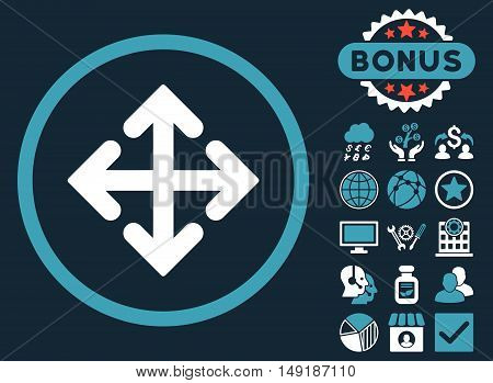 Direction Variants icon with bonus pictures. Vector illustration style is flat iconic bicolor symbols blue and white colors dark blue background.