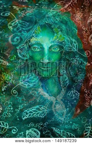 green fantasy fairy spirit with leaf ornaments, illustration collage.