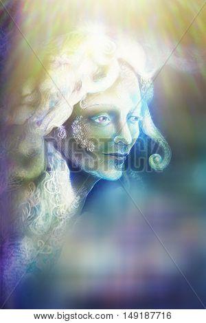 beautiful angel fairy spirit in rays of light, illustration.