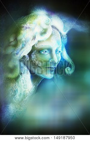 fairytale fairy woman face on abstract background with blur effect.