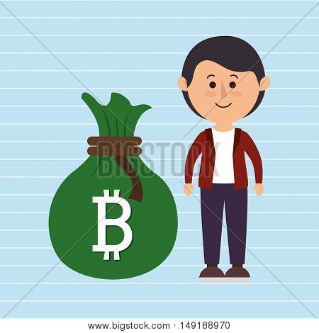 person man bit coin web vector illustration eps 10