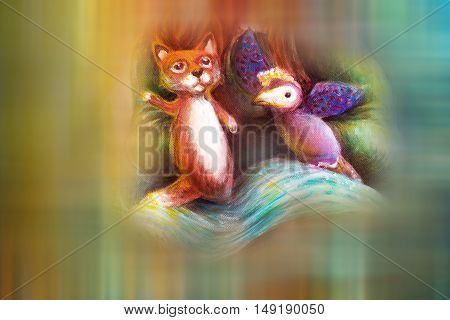 two animal puppets, fox and violet bird, on abstract background with text space.
