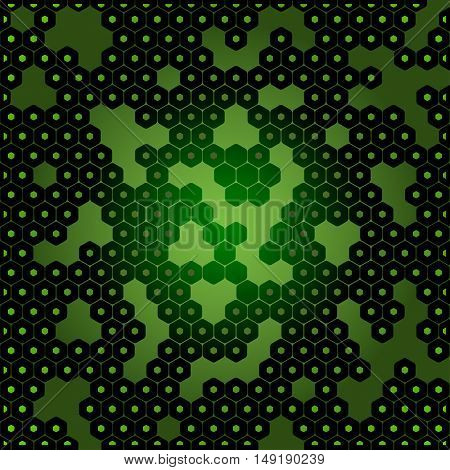 Vector abstract dark green background with hexagon shapes and holes.