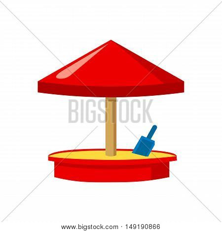 Sandbox icon in cartoon style isolated on white background. Play garden symbol vector illustration.