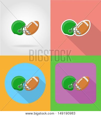 american football flat icons vector illustration isolated on background