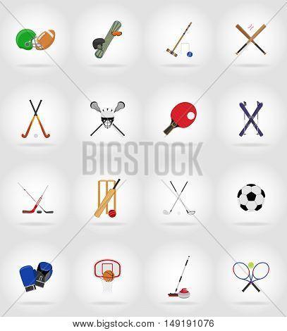 sport equipment flat icons illustration isolated on background