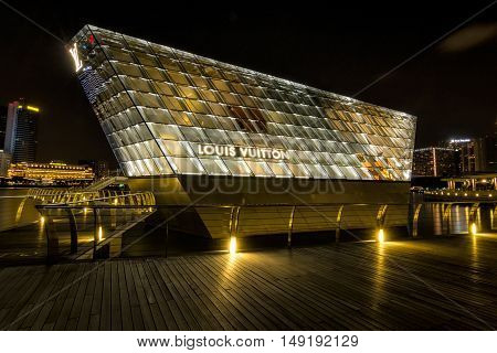 SINGAPORE - JUNE 28: The futuristic building of Louis Vuitton shop in Marina Bay Singapore on June 28 2015.