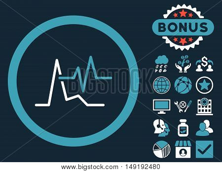 ECG icon with bonus design elements. Vector illustration style is flat iconic bicolor symbols blue and white colors dark blue background.