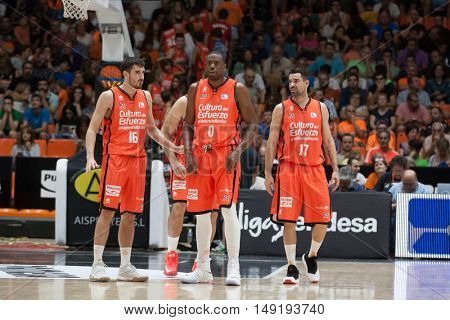 VALENCIA, SPAIN - SEPTEMBER 25th:Valencia Team during match between Valencia Basket and Estudiantes at Fonteta Stadium on September 25, 2016 in Valencia, Spain