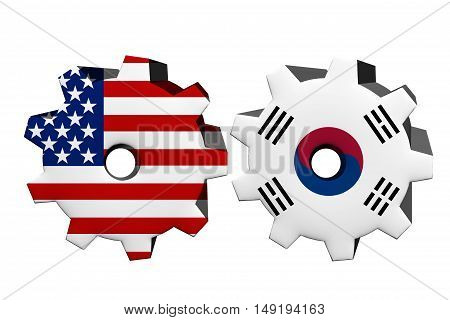 The United States of America and South Korea working together Two cogwheels with a flag of the United States and South Korea isolated on white 3D Illustration
