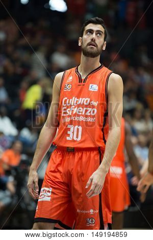 VALENCIA, SPAIN - SEPTEMBER 25th: Sastre during match between Valencia Basket and Estudiantes at Fonteta Stadium on September 25, 2016 in Valencia, Spain