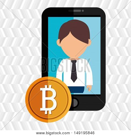 man smartphone bit coin vector illustration eps 10