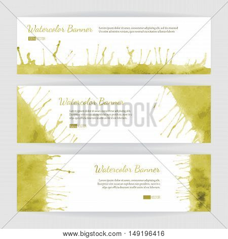 Set of hand painted watercolor horizontal banners headers. Colorful abstract green yellow brush stocks and splashes on a white backgrounds. Modern style graphic design template. Marketing concept.