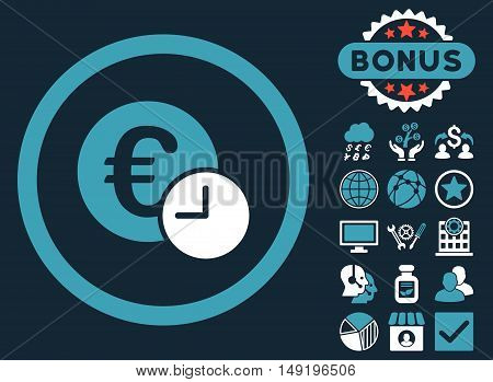 Euro Credit icon with bonus design elements. Vector illustration style is flat iconic bicolor symbols blue and white colors dark blue background.